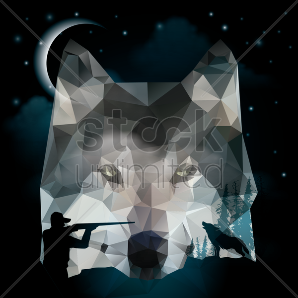 double exposure of fox and hunter vector graphic