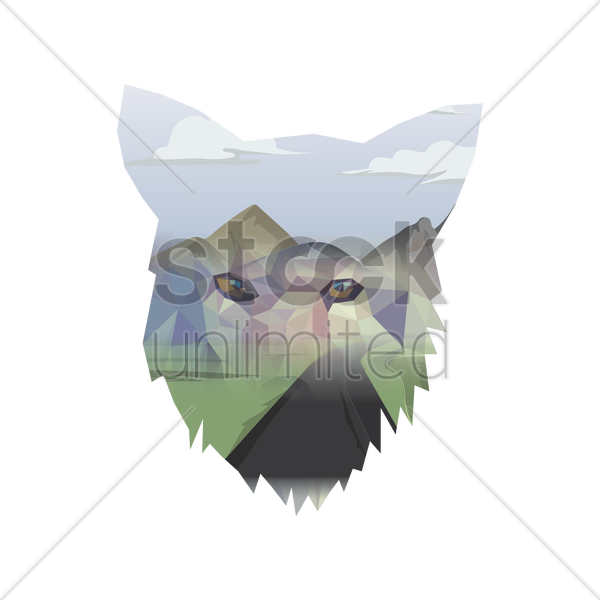 double exposure of fox and landscape vector graphic