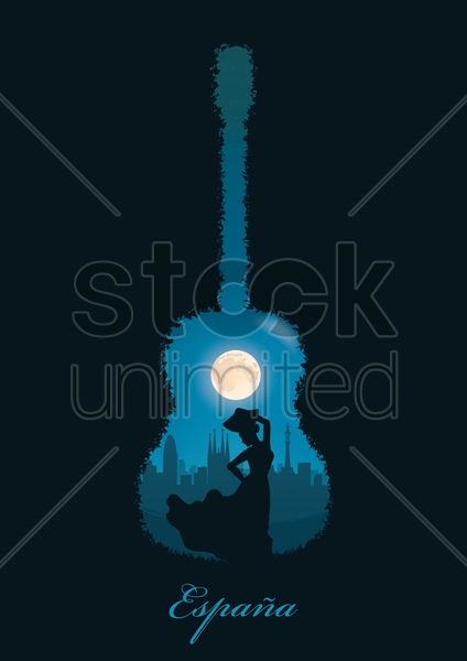 double exposure of guitar and flamenco dancer vector graphic