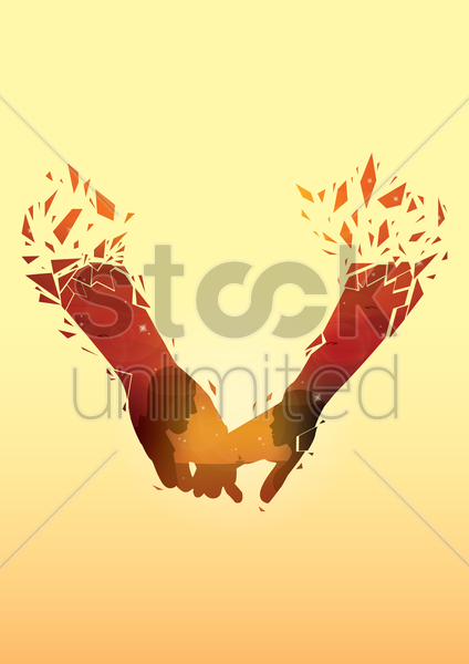 double exposure of hands and couple vector graphic