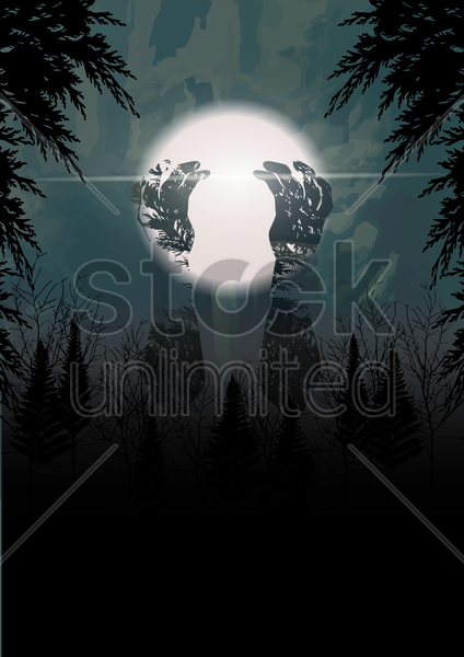 double exposure of hands and forest vector graphic