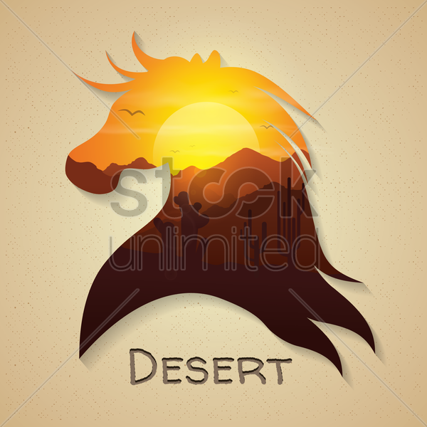 double exposure of horse and desert vector graphic