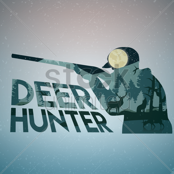 double exposure of hunter and forest vector graphic