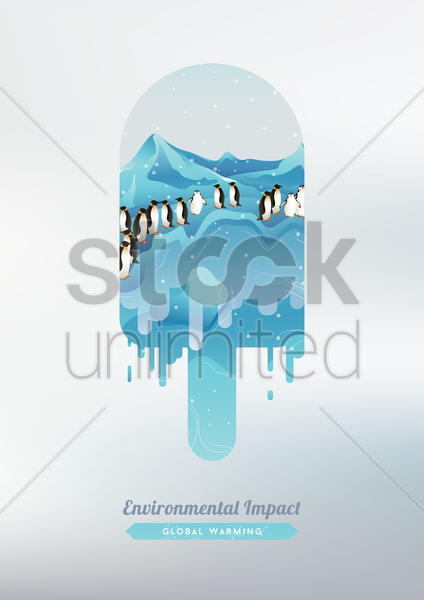 Free double exposure of ice cream and penguins vector graphic