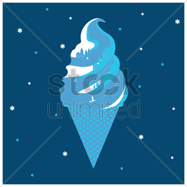 double exposure of ice cream cone and mountain landscape vector graphic