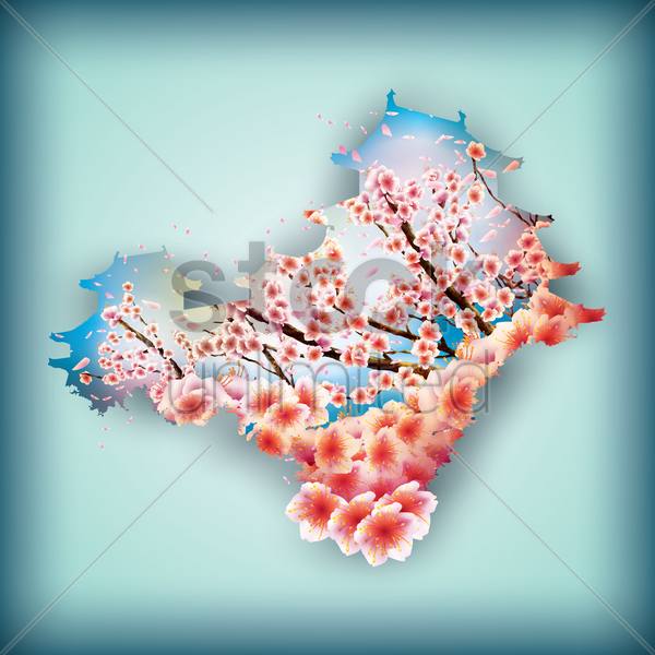 double exposure of japan map and sakura flowers vector graphic