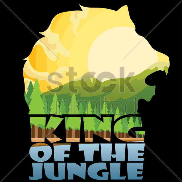 double exposure of lion and nature vector graphic