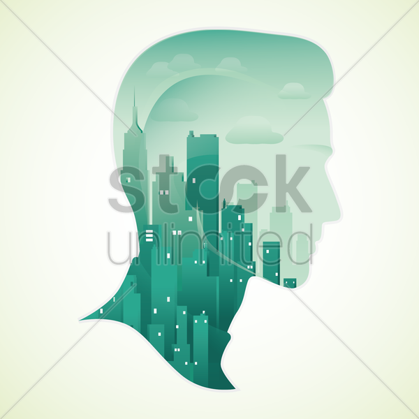 double exposure of man and city vector graphic