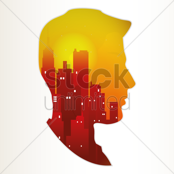Free double exposure of man and city vector graphic