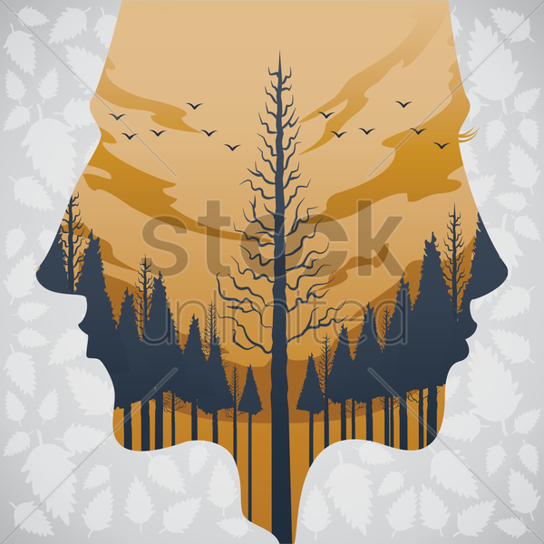 double exposure of man and forest vector graphic