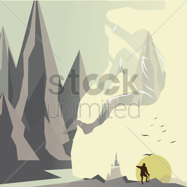 double exposure of man and mountain vector graphic