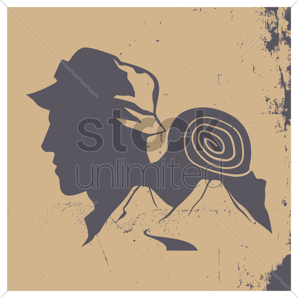 double exposure of man and mountains vector graphic