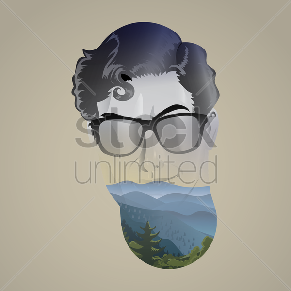 Free double exposure of man and nature vector graphic