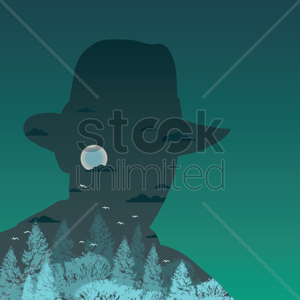 double exposure of man and night sky vector graphic