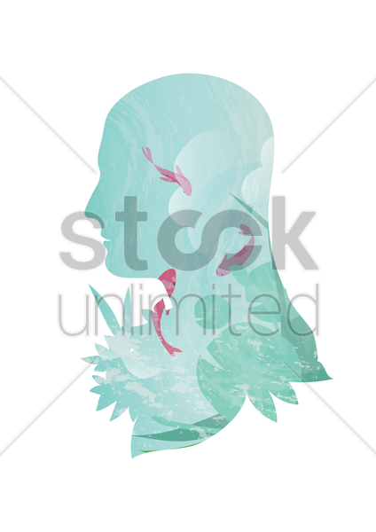 double exposure of man and ocean vector graphic