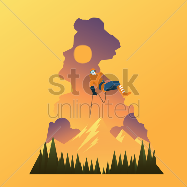 double exposure of man and rock climbing vector graphic