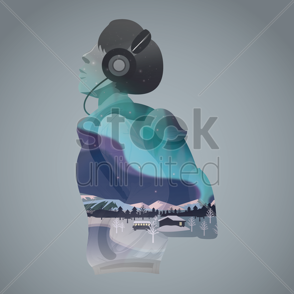 double exposure of man and winter landscape vector graphic