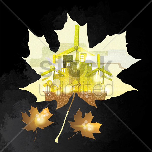 double exposure of maple leaf and factory vector graphic