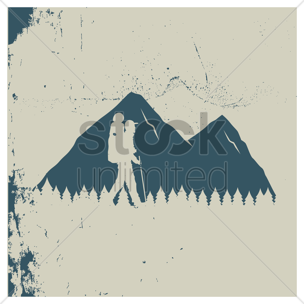 double exposure of mountains and mountaineer vector graphic