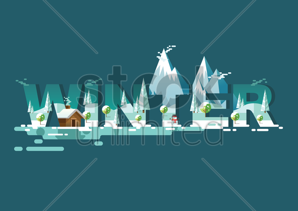 double exposure of nature and winter text vector graphic