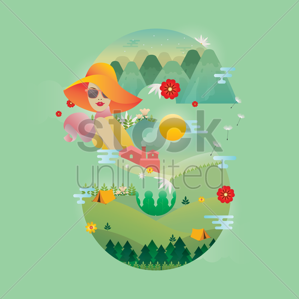 double exposure of nature landscape and letter s vector graphic