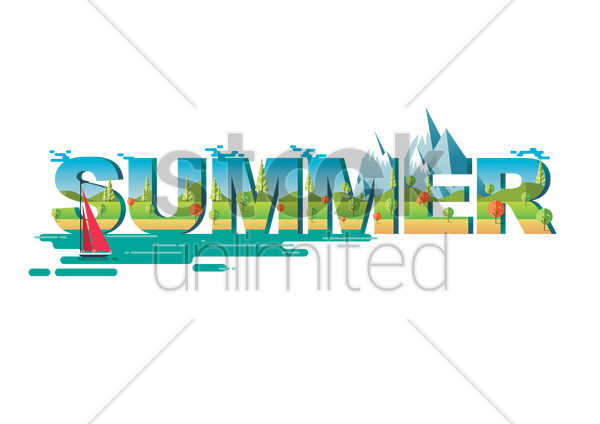 double exposure of nature landscape and summer text vector graphic