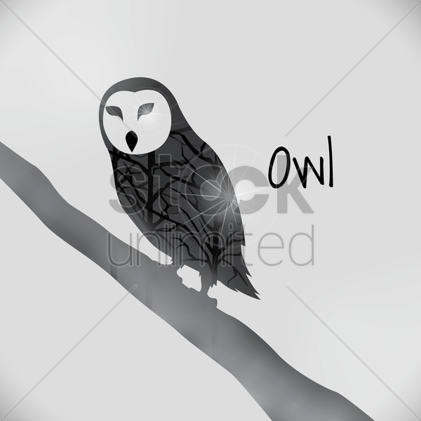 double exposure of owl and trees vector graphic