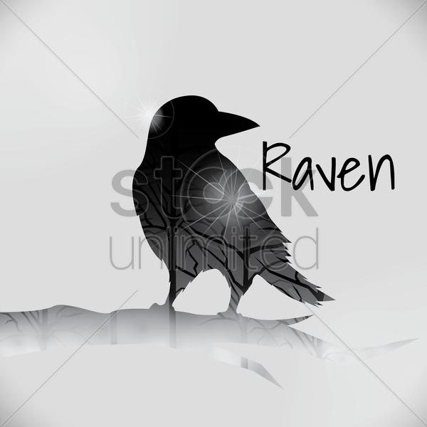 double exposure of raven and trees vector graphic
