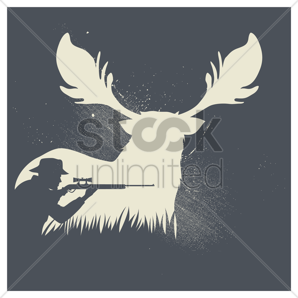 double exposure of reindeer and hunter vector graphic