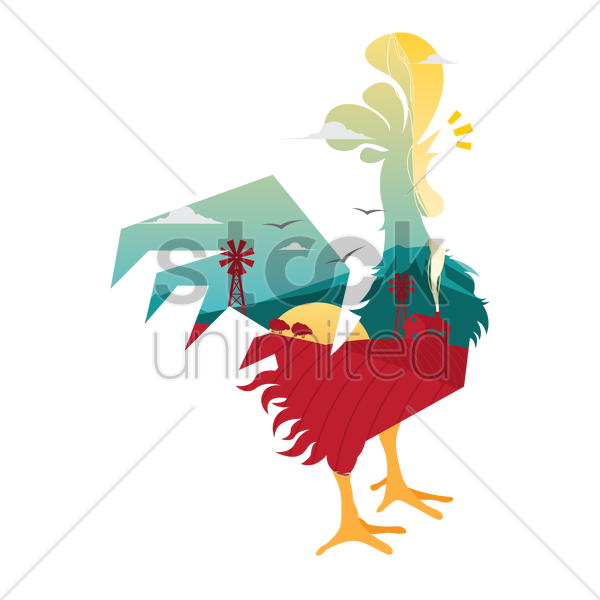 double exposure of rooster and farm vector graphic