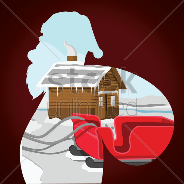 double exposure of santa claus and winter landscape vector graphic