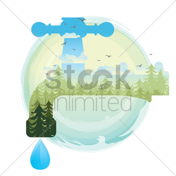 double exposure of save water concept vector graphic