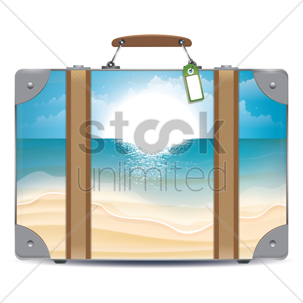 double exposure of suitcase and beach vector graphic