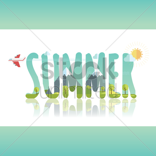 double exposure of summer text with mountain landscape vector graphic