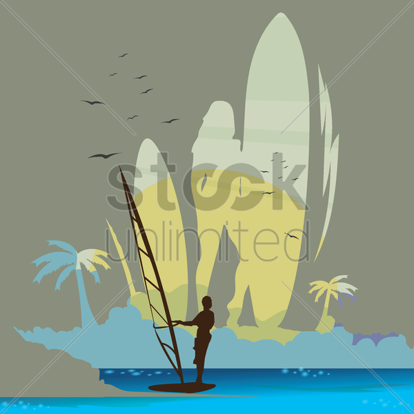 double exposure of surfer and beach vector graphic