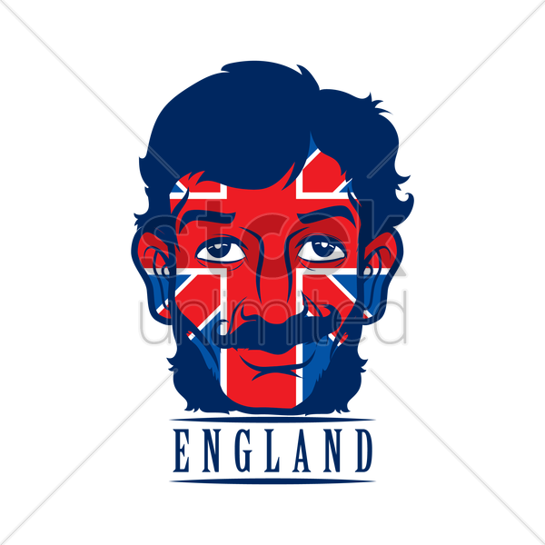 double exposure of uk flag and man label vector graphic