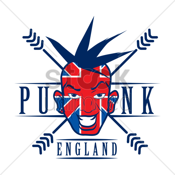 double exposure of uk flag and punk vector graphic