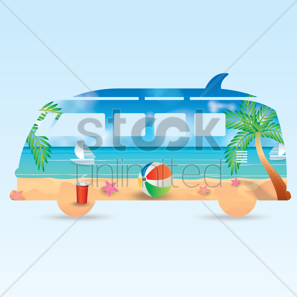 double exposure of van and beach vector graphic