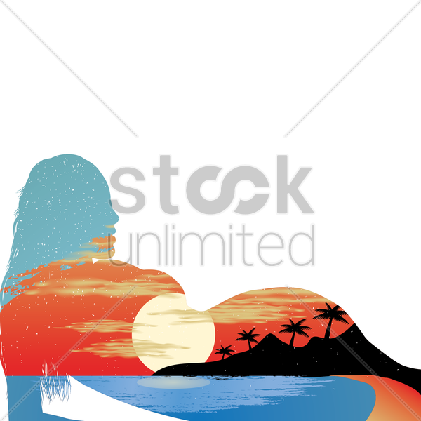 double exposure of woman and beach vector graphic
