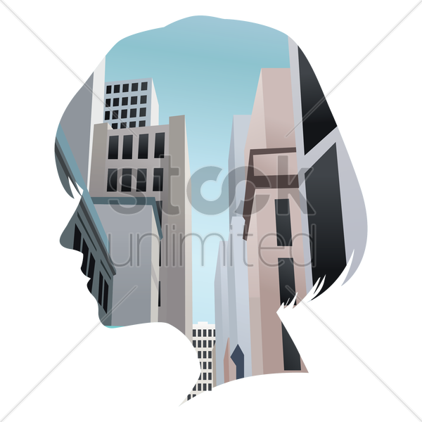 double exposure of woman and buildings vector graphic
