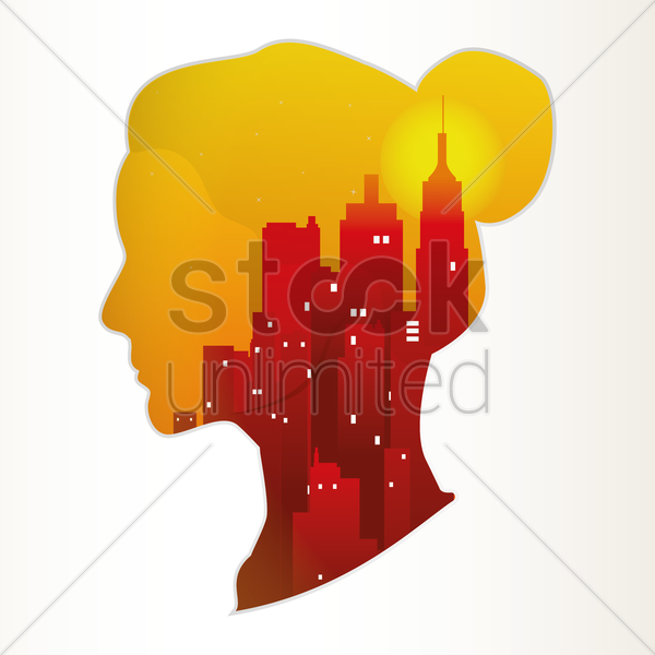Free double exposure of woman and city vector graphic