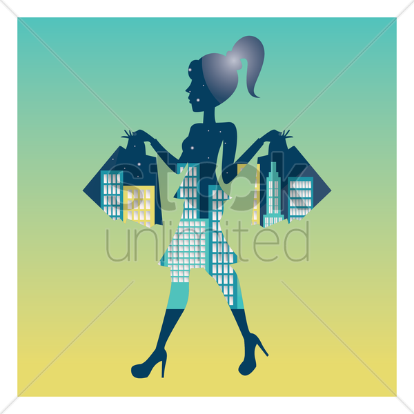 double exposure of woman and cityscape vector graphic