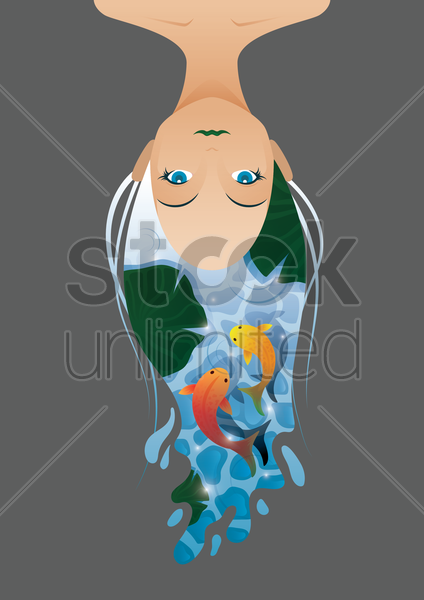 double exposure of woman and fishes vector graphic