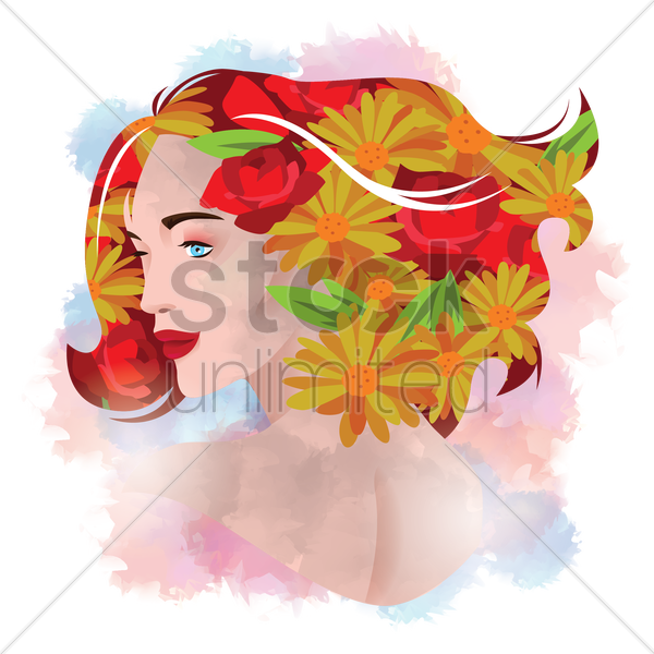 double exposure of woman and flower vector graphic