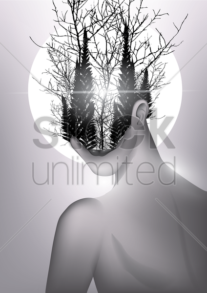 Free double exposure of woman and forest vector graphic