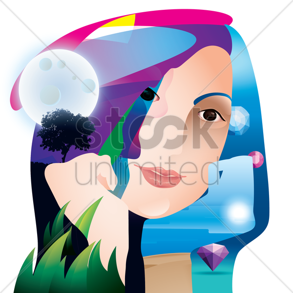 double exposure of woman and nature vector graphic