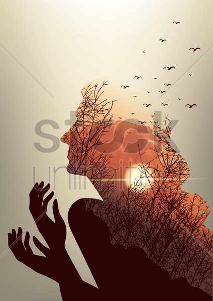 Free double exposure of woman and sunset vector graphic