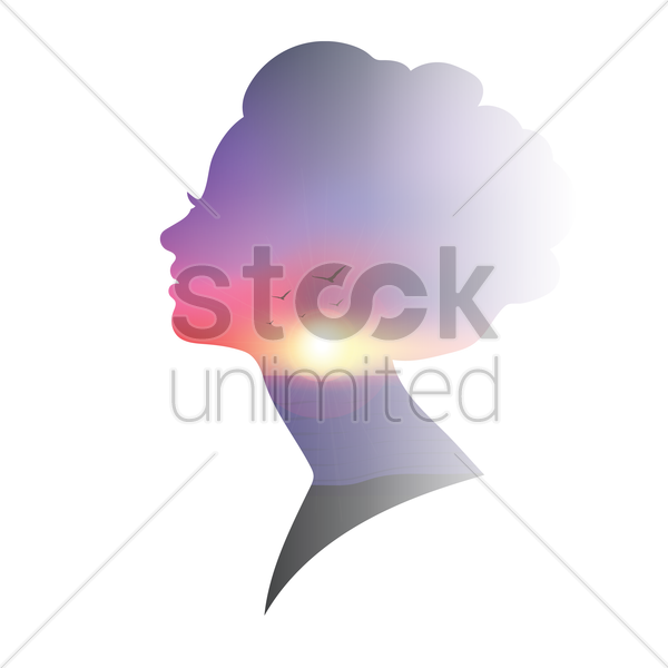 double exposure of woman and sunset vector graphic