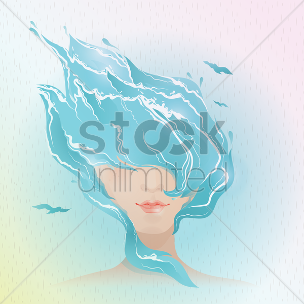 double exposure of woman and water vector graphic