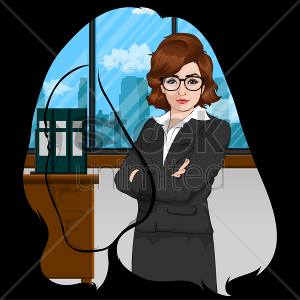 double exposure of woman head and businesswoman in office vector graphic